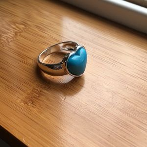 Faux turquoise heart ring